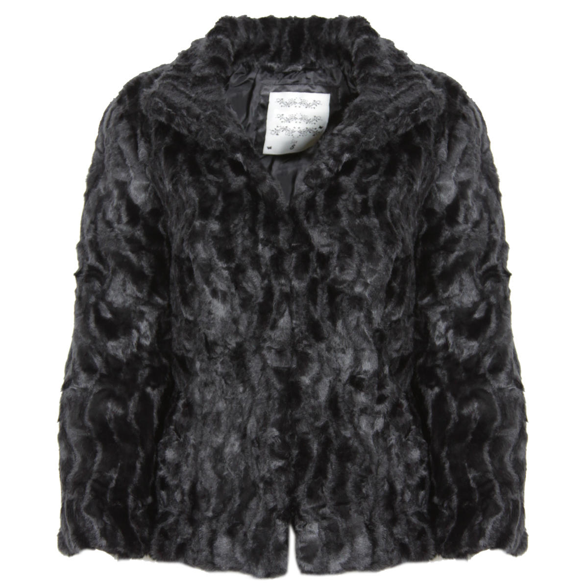 Black 3/4 Sleeve Cropped Faux Fur Jacket Preview